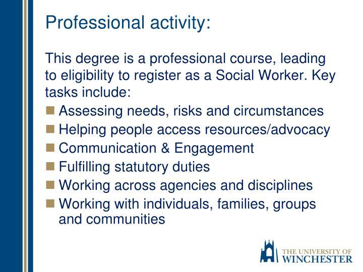 Professional activity