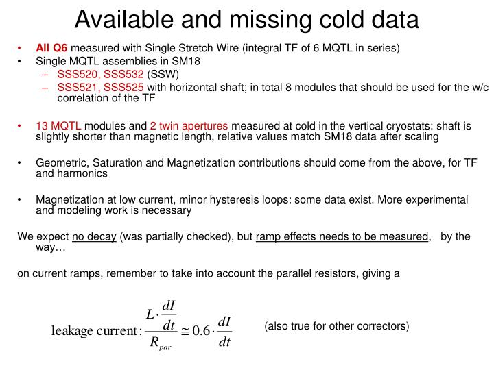 Available and missing cold data