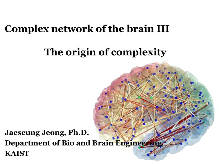 Complex network of the brain iii the origin of complexity