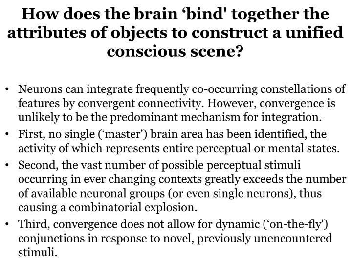 How does the brain 'bind' together the attributes of objects to construct a unified conscious scene?
