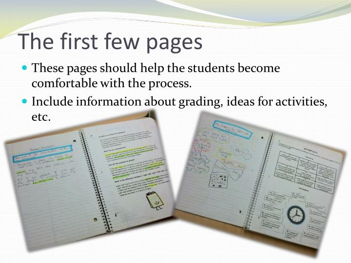 The first few pages