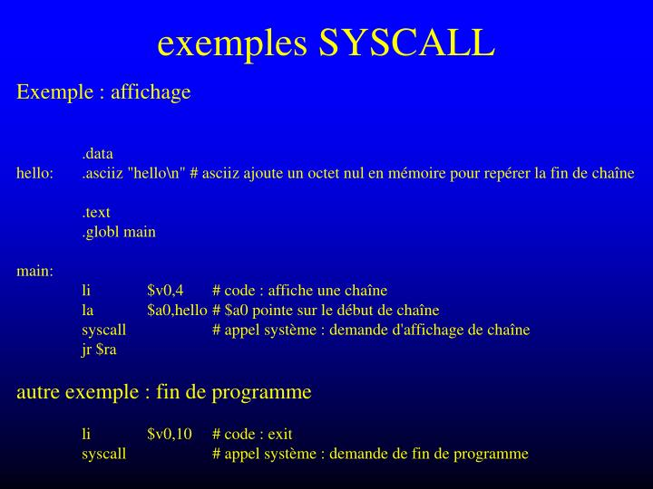 exemples SYSCALL