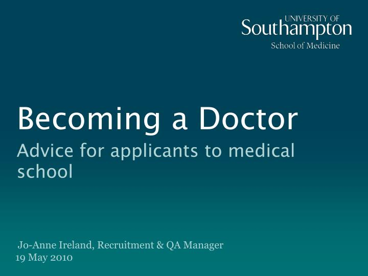 becoming a doctor n.