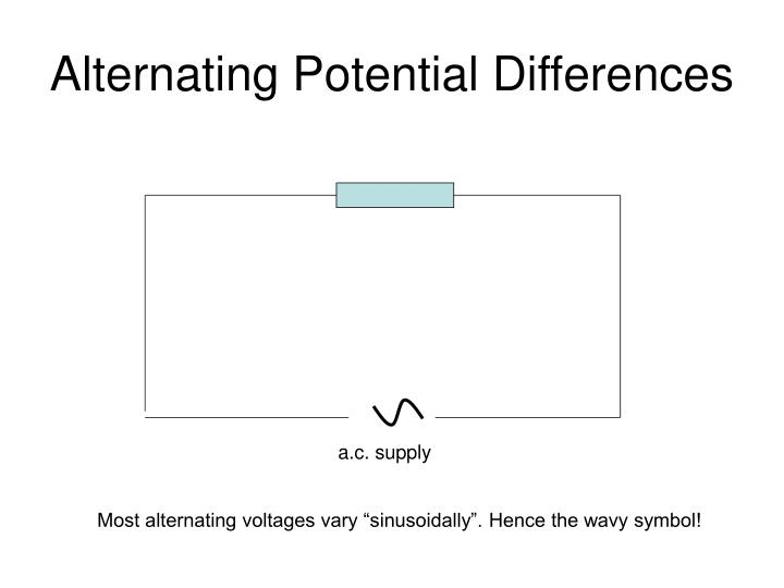 Alternating potential differences