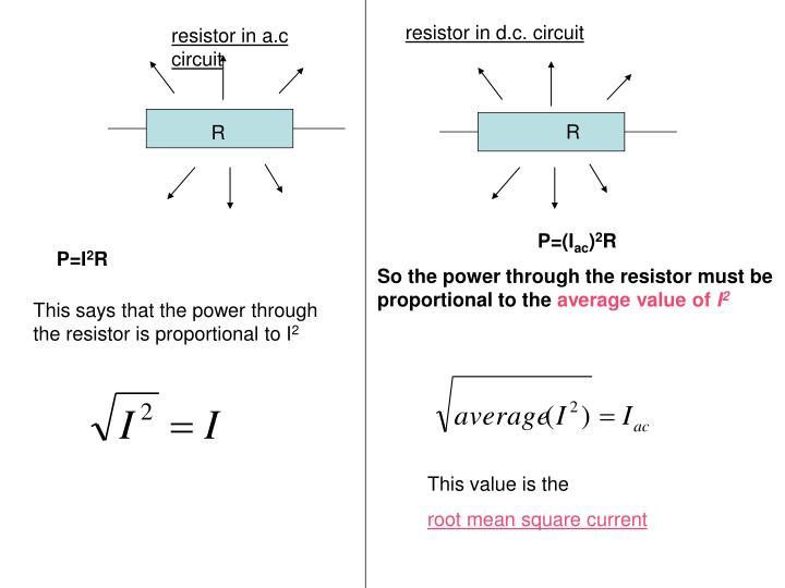 resistor in d.c. circuit