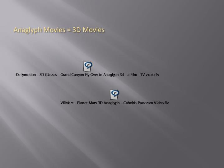 Anaglyph Movies = 3D Movies