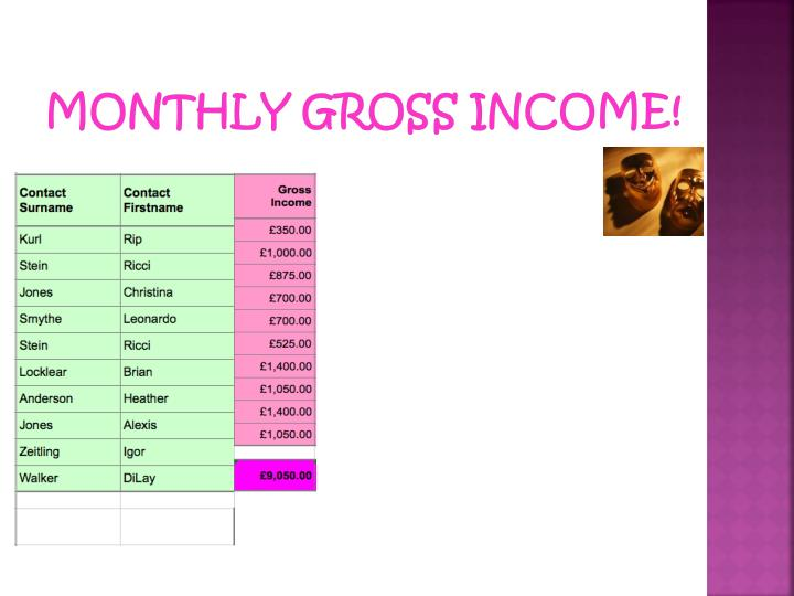 Monthly gross income!