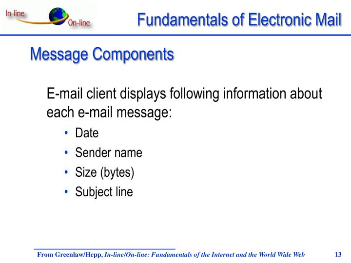 E-mail client displays following information about