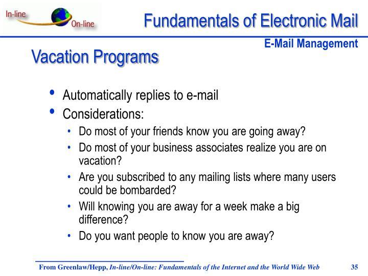 Automatically replies to e-mail