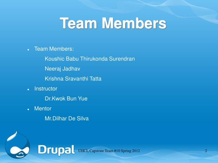 UHCL Capstone Team #10 Spring 2012