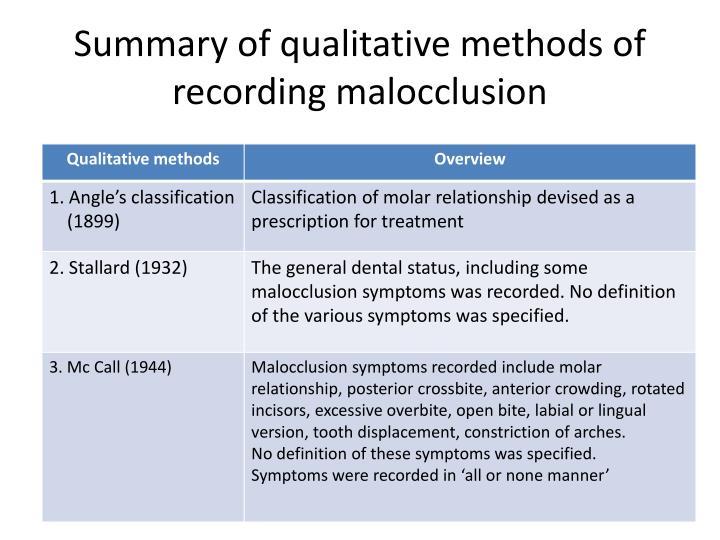 Summary of qualitative methods of recording malocclusion