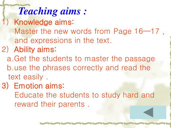 Teaching aims :