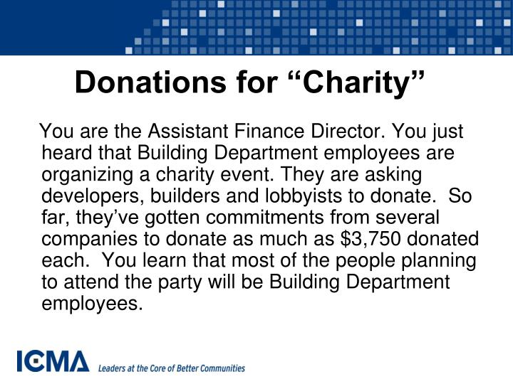 """Donations for """"Charity"""""""