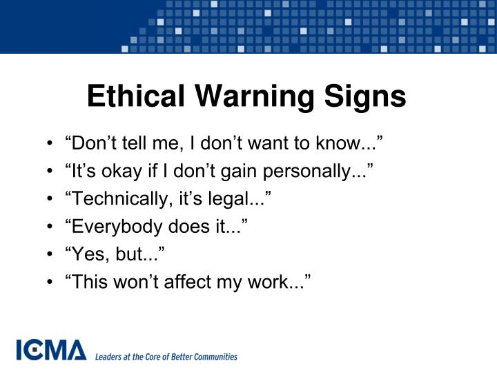 Ethical Warning Signs