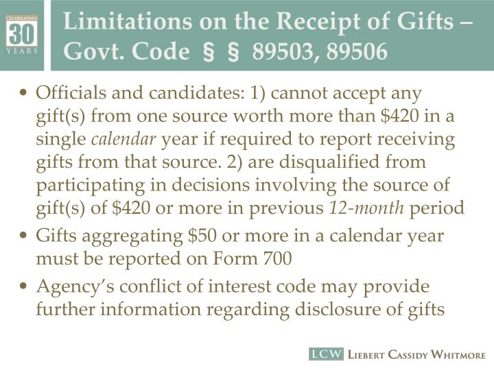 Limitations on the Receipt of Gifts –