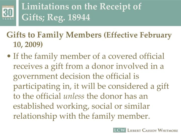 Limitations on the Receipt of Gifts; Reg. 18944