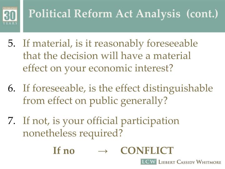 Political Reform Act Analysis  (cont.)