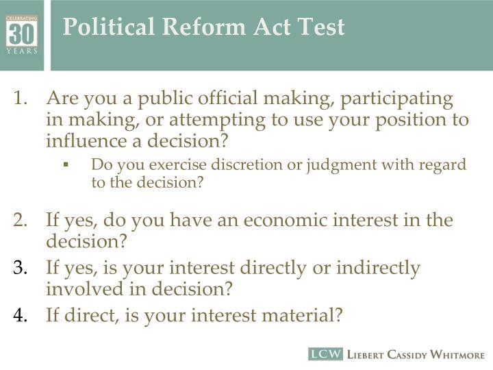 Political Reform Act Test