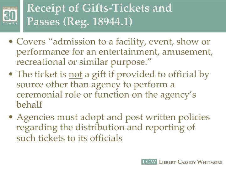 Receipt of Gifts-Tickets and Passes (Reg. 18944.1)