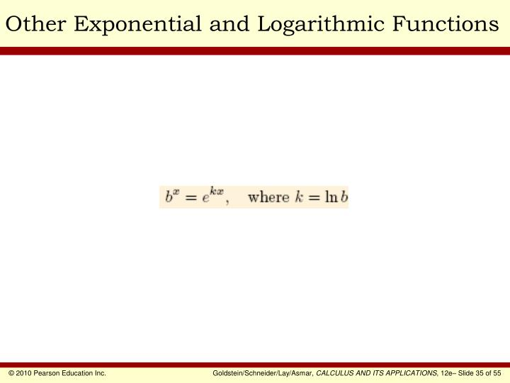 Other Exponential and Logarithmic Functions
