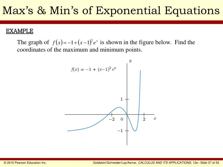 Max's & Min's of Exponential Equations