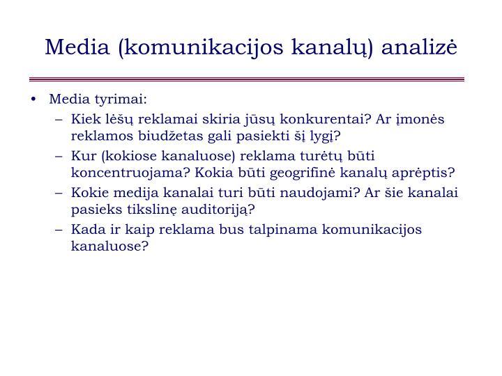 Media (komunikacijos kanalų) analizė
