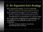 c an argument from analogy