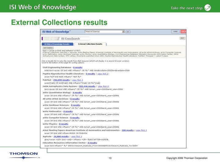 External Collections results