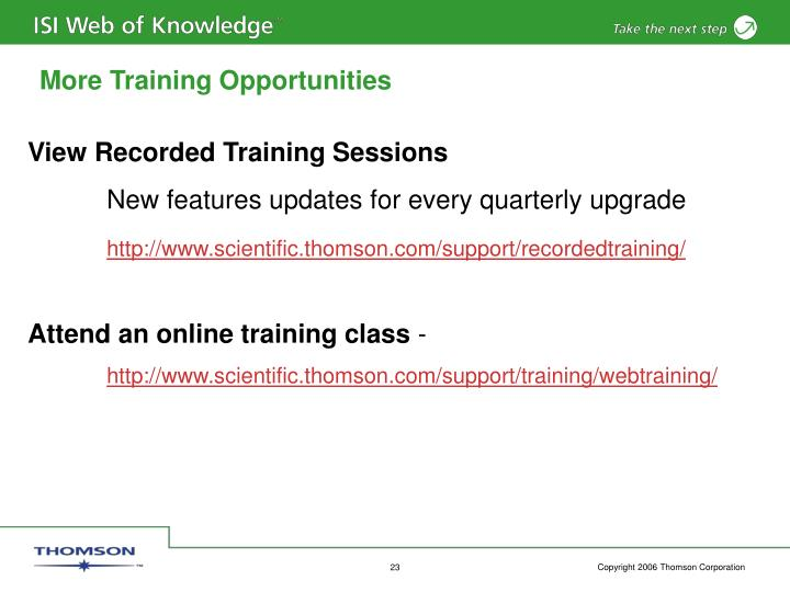 More Training Opportunities