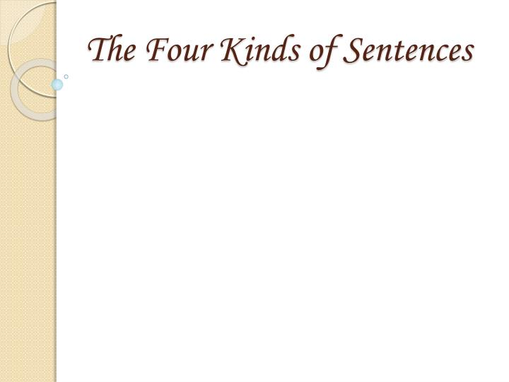 the four kinds of sentences n.