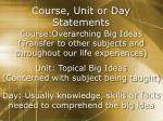 course unit or day statements