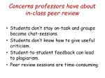 concerns professors have about in class peer review