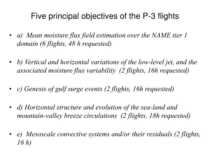 Five principal objectives of the p 3 flights