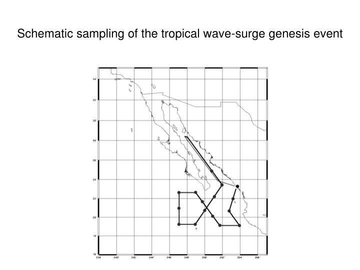 Schematic sampling of the tropical wave-surge genesis event