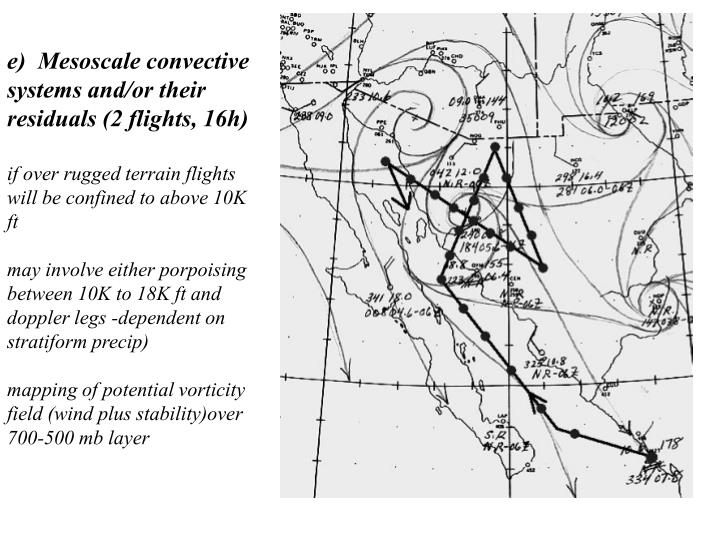 e)  Mesoscale convective systems and/or their residuals (2 flights, 16h)