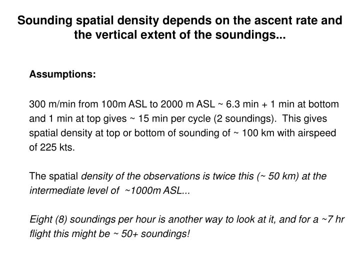 Sounding spatial density depends on the ascent rate and