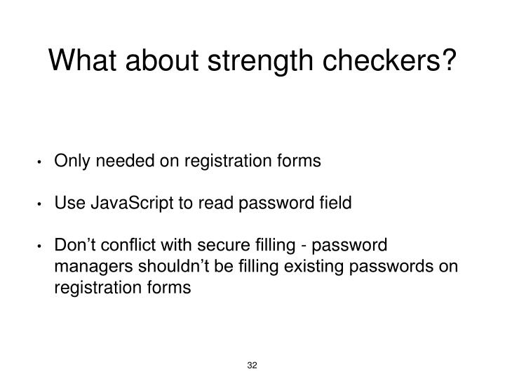 What about strength checkers?