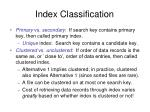 index classification
