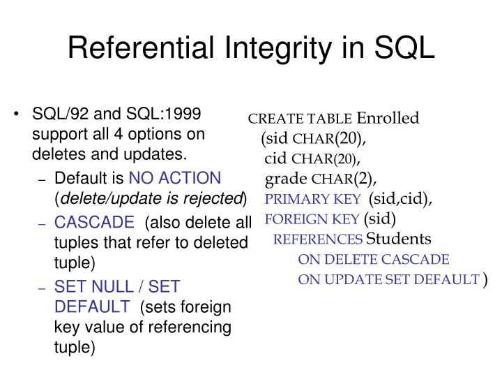 Referential Integrity in SQL