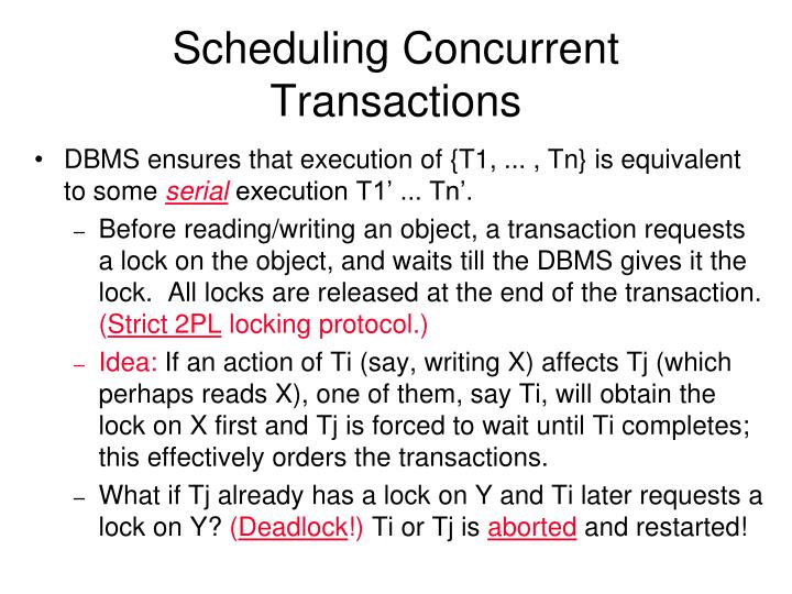 Scheduling Concurrent Transactions