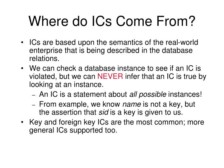 Where do ICs Come From?