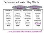 performance levels key words3