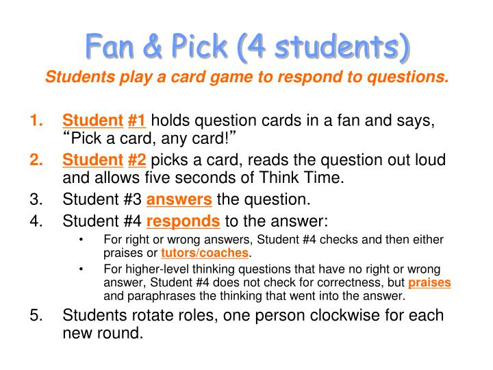 Fan & Pick (4 students)
