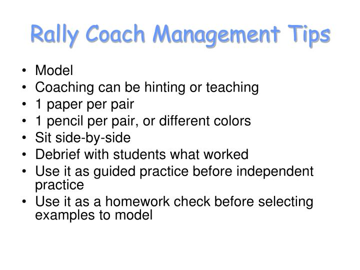 Rally Coach Management Tips
