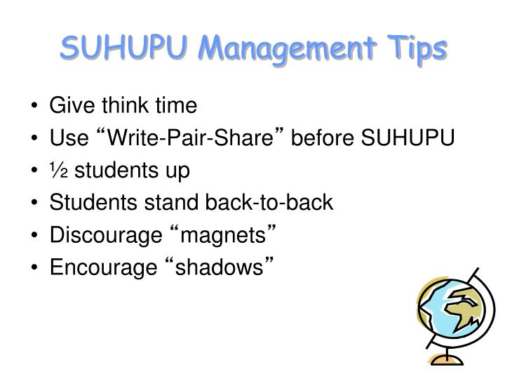 SUHUPU Management Tips
