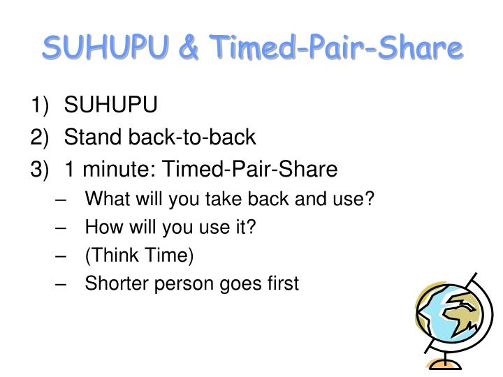 SUHUPU & Timed-Pair-Share
