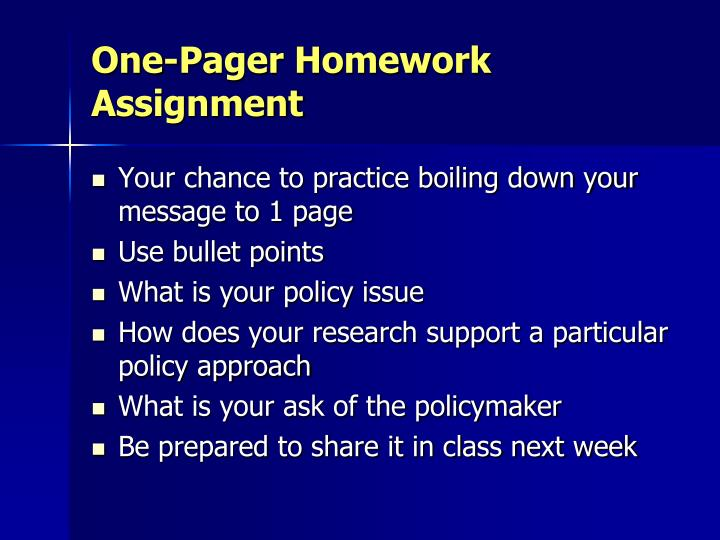 One-Pager Homework Assignment