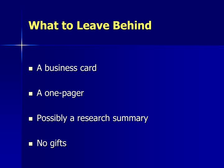 What to Leave Behind