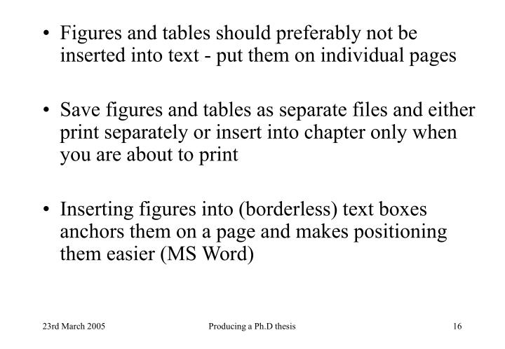 Figures and tables should preferably not be inserted into text - put them on individual pages