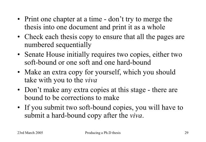 Print one chapter at a time - don't try to merge the thesis into one document and print it as a whole